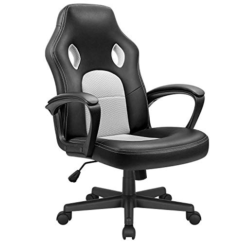 KaiMeng Office Gaming Chair Leather Computer Chairs High Back Ergonomic Adjustable Racing Game Desk Chair Executive Conference Chair (White)