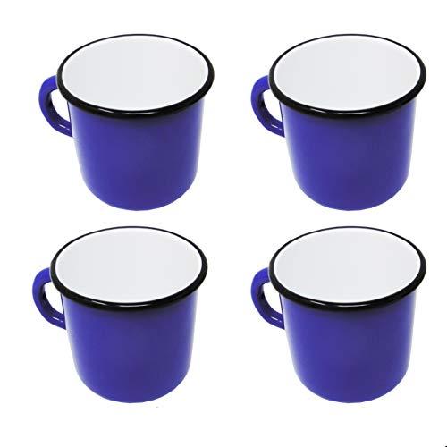Madacha 4 Grands Mugs en métal émaillé - Diamètre 9 cm - 400 ML - Bleus - sans étiquettes