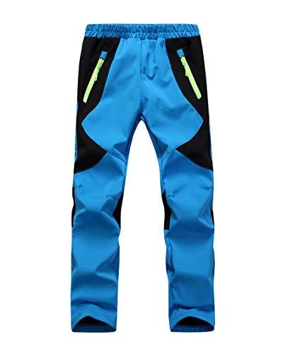 CAMLAKEE Pantaloni Escursionismo Bambino, Pantaloni Montagna Trekking, Pantaloni Antivento Impermeabili per Ragazzi Ragazze, Azzurro, XS