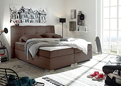 Froschkönig24 Pensacola Boxspringbett 160x200cm Bett Doppelbett Ehebett Dunkelbraun, Ausführung:Variante 3