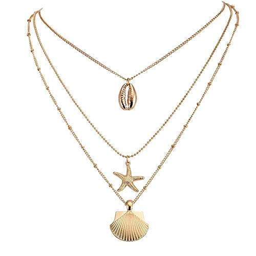 Xynhed Choker met schelpen, zeester, multilayer, hanger, dames, charme, sleutelbeen, ketting, strand sieraden, accessoires