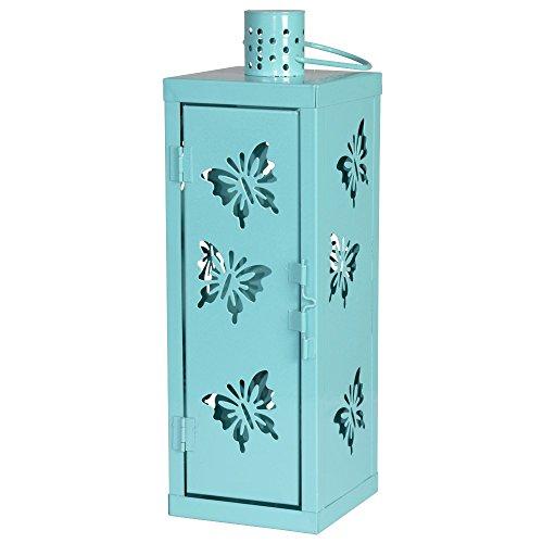 Laterne Metall Schmetterling motiv aqua blau 34 cm