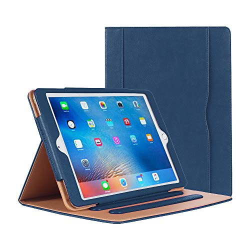 iPad Air Case - Leather Stand Folio Case Cover for Apple iPad Air Case with Multiple Viewing Angles, Document Card Pocket (Navy)