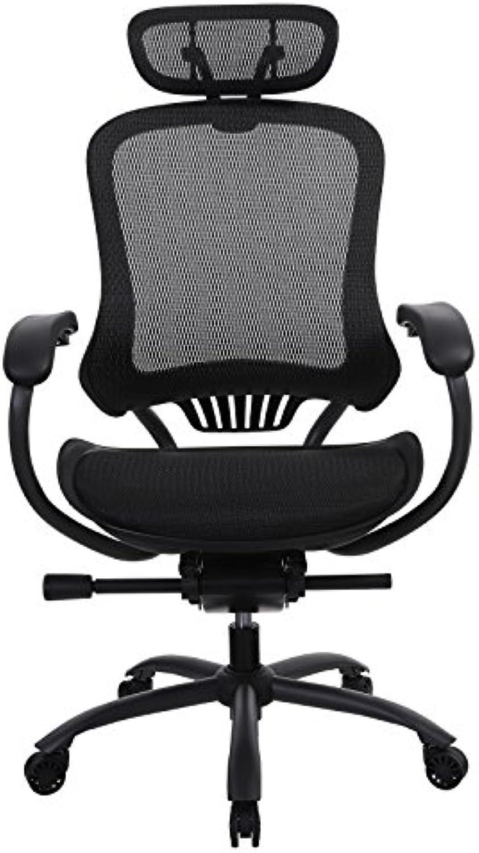 SONGMICS Ergonomische Bürostuhl Chefsessel aus Stoff, Schreibtischstuhl mit Lendenstütze, Verstellbarer Kopfstützen und neigbarer Netzrücken, Schwarz OBN91BK