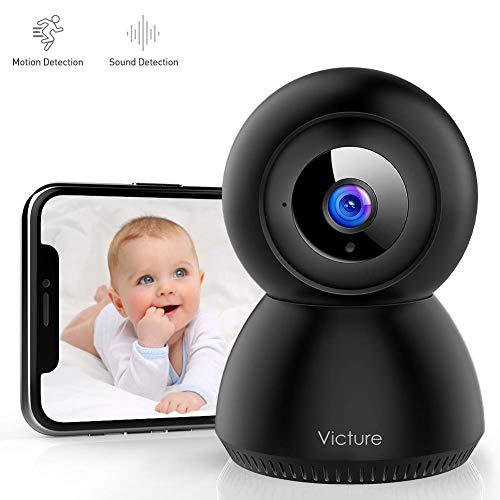 Lsmaa 1080P Baby-Monitor mit Kamera FHD WiFi IP-Kamera mit Sound-Erkennung Motion Tracking Weiß (Color : Black)