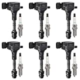 Vplus Set of 6 Ignition Coils & Spark Plugs Compatible with 2002-2012 Nissan Infiniti Maxima Murano Pathfinder Quest Altima Q4 350z FX35 G35 UF349