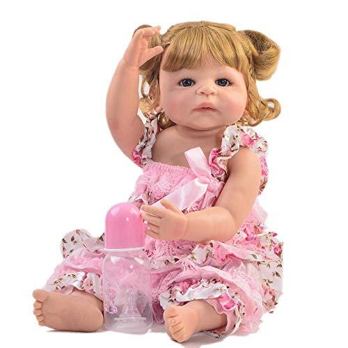 HHJJ Muñecas bebé Doll Reborn, Rubio, Rubio, Rizado, muñecas recién Nacidas, cumpleaños, cumpleaños, Juguetes, Juguetes, muñecas, Hecha a Mano, Vestido Rosa 1227dmsjwawa-2469
