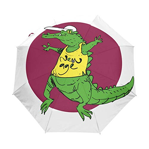 Compact Travel Parapluie Crocodile Wearing Yellow Tshirt Auto Open Close Parapluie Windproof Anti-UV