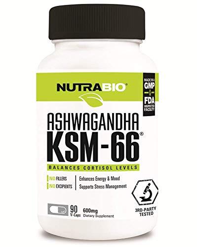 NutraBio Ashwagandha KSM-66 Herbal Supplement (90 Vegetable Capsules, 600mg Each)