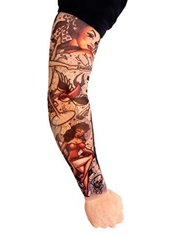 Maskworld Rockabilly - Tattoo Ärmel zum Überziehen - Armgröße: M - Kostüm-Zubehör für Halloween, Karneval & Motto-Party