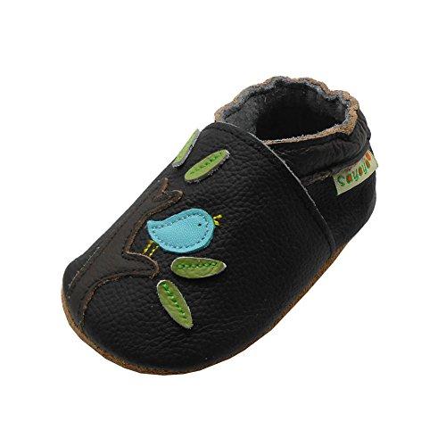 SAYOYO Premium Vogel und Baum Krabbelschuhe Weiche Leder Wildledersohle Babyschuhe(6-12 Monate, Schwarz)
