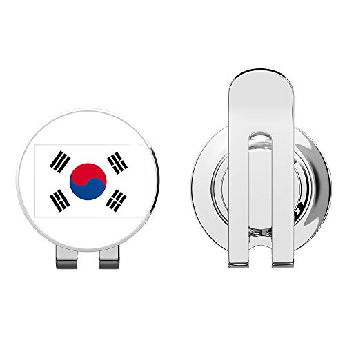 South Korea Flag Golf Hat Clip with Magnetic Ball Marker