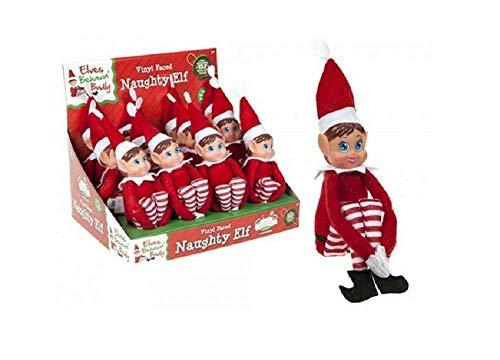 Elves Behavin Badly Elfo Flexible Flexible de 12'con Cabeza de Vinilo - Accesorio de Navidad (Chica elfa roja)