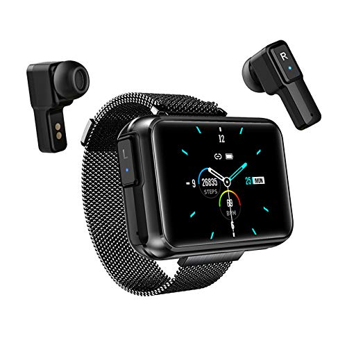 2 in 1 Smart Watch with TWS Wireless Bluetooth Headset, Smart Bracelet with 1.4' Touch Screen, Smartwatch Heart Rate Blood Pressure Fitness Tracker Earbuds Combo Running Music Wristband (Black)