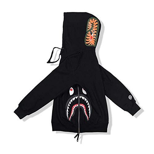 BAPE Fashion Hip Hop Shark Camo Print Jersey de algodón Casual con cremallera suelta chaqueta con capucha para aumentar el valor fresco en un 100%, negro, L