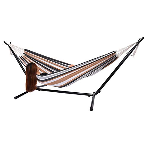 KONAVATY Hammock Patio Yard and Beach Double Hammock with Space Saving Steel Stand For Patio, Backyard, Porch, Outdoor and Indoor Use - Soft Woven Cotton Fabric Hammocks with Portable Carrying Bag (A)