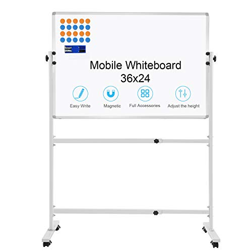 """Mobile Dry Erase Board with Stand 36""""x24"""" Rolling whiteboard for Office, School, Home, Classroom Presentations"""
