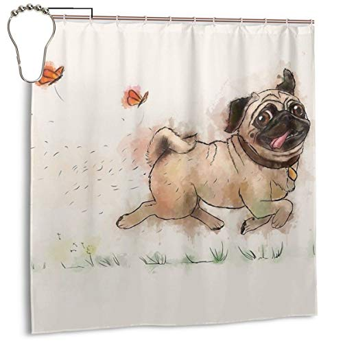 Cheeky Pug Waterproof Shower Curtain, Polyester Bathroom Curtain Decorative Curtain Sets with 12 Hooks, Standard Size 72 x 72 Inch