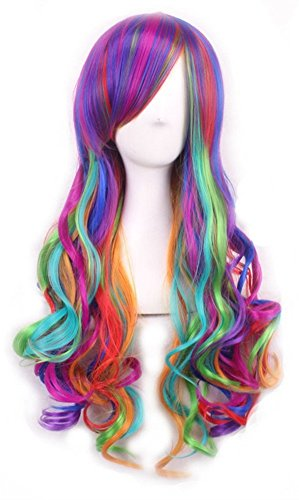 Surprise Rainbow Mermaid Long Wave Wig & 1 Hair Cap, for Fun Unicorn Cosplay Costume Accessories, Halloween Masquerade Birthday Theme Party, Multi Color Harajuku Lolita Sweet Style Anime; 01DC