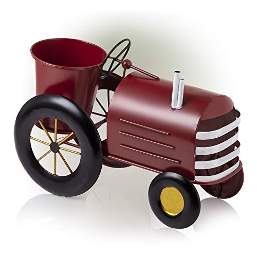 Alpine Corporation LYT272RD Tractor Yard Decor Alpine Small Metal Outdoor Flower Planter with Stand-Tra, Red