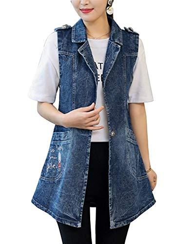 Abrigo De Jeans Mujer Largos Elegantes Vintage Bordados Talla Grande Chaleco Vaqueros Sin Mangas De Solapa Casuales Ropa Moda Primavera Otoño Vaqueras Jacket Chaleco (Color : Azul, Size : 2XL)