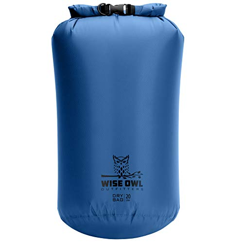 Wise Owl Outfitters Dry Bag - Ultra Lightweight Airtight Waterproof Bags - Fully Submersible Ripstop Roll Top Drybag Sacks Great for Kayak Boat Water Sports Camping - 5L 10L and 20L Sizes Blue 5L