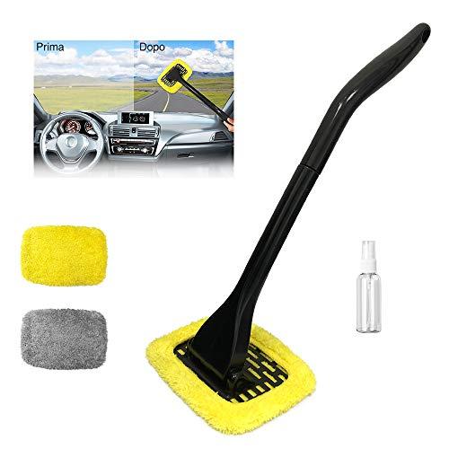 Manelord Auto Parabrezza Cleaner Parabrezza Pulitore Spazzola Antipolvere, Upgrade con 180° Kit Maniglia Girevole Include 2 pz di Microfibra Pastiglie Lavabili