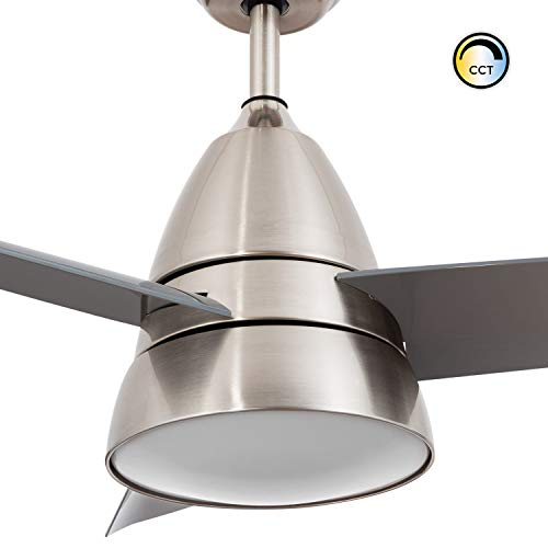 LEDKIA LIGHTING Ventilador de Techo LED Industrial Plata CCT Seleccionable 55W Seleccionable (Cálido-Neutro-Frío)