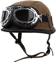 Vintage Style Motorcycle Half Helmet German Skull Style Helmet Low Profile Retro Motorbike Helmet, DOT Approved Adult Helmet for Men Women, Goggles Decoration,Brown,L