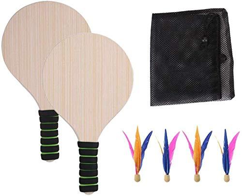 RENFEIYUAN Strandpaddel Spiel Set Holz Badminton Ball Spielzeug Sport Spiel Schläger Badminton Für Kinder Erwachsene (Zufällige Grifffarbe) Badminton Sets