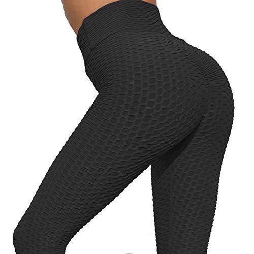 ZXD Leggings De Burbuja para Mujer, Pantalones De Yoga, Cintura Alta Control De Abdomen Mallas De Levantamiento De Cadera Pantalones para Gimnasio Entrenamiento Correr,Negro,L