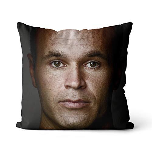 Andres Iniesta - Funda de almohada ligera de 50 x 50 cm, diseño de jugador de fútbol Andrés Iniesta