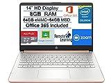 Newest HP Stream 14' HD SVA Laptop Computer, Intel Celeron N4000 Processor, 8GB RAM, 128GB Space(64GB eMMC+64GB MSD), Office 365, HDMI, USB-C, Windows 10, Rose Gold, AllyFlex MP, Online Class