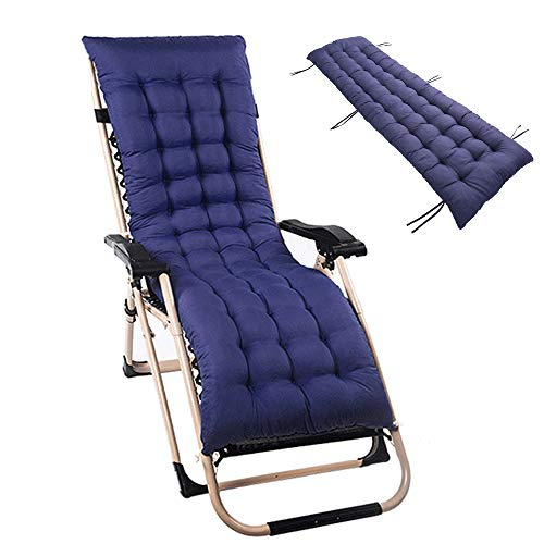 Sun Lounger Cushions Garden Furniture Cushions Portable Garden Patio Thick Padded Bed Recliner Relaxer Chair Seat Cover for Travel/Holiday/Indoor/Outdoor (160 * 48 * 8CM 1pcs) (Navy Blue)