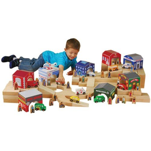 Constructive Playthings Wooden Community Figures, Set of 44 Pieces for Block Play