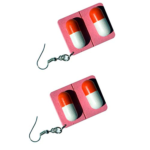 BoburyL Women Wood Capsule Pill Board Earrings Funny Drop Dangle Ear Hooks Female Eardrop Jewelry