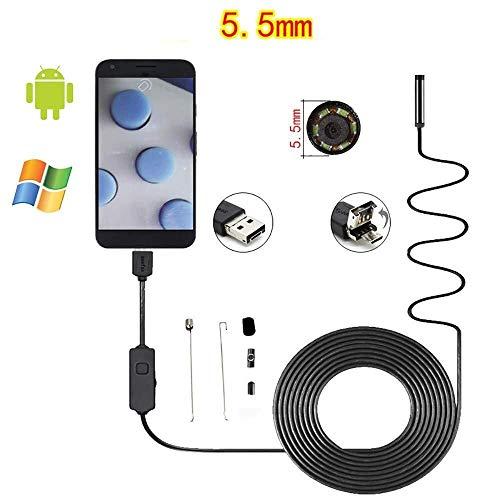 LMXQQ 5,5 mm 6LED IP67 Endoskop, 3,0 Megapixel wasserdichte Erkennungskamera for Android-Smartphones und -Computer, Kabel/fest verdrahtet (1/2/3 / 5M) (Color : Soft Wire, Size : 3M)
