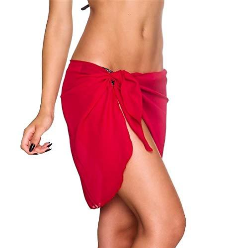 Vestido De La Playa De Mujer De Playa Honda Bikini Ropa Fiesta Encubrimientos Wrap Faldas Toalla De Espalda Abierta del Traje De Baño (Color : Rot, One Size : One Size)