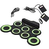 BakaKa Juego de batería electrónica Altavoz Incorporado Plegable, 7 Almohadillas Juego de batería Almohadilla de batería Enrollable portátil USB/Carga de batería para niños Principiantes