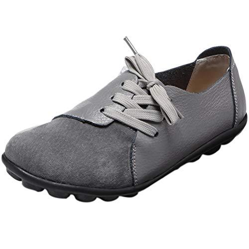 Mallimoda Damen Mokassin Casual Loafers Komfort Leder Flache Schnürschuhe, 42 EU, Grau