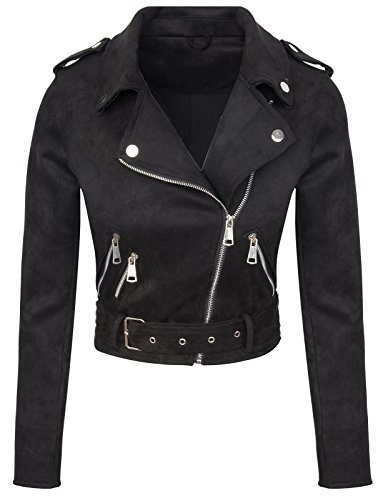 Rok Creek Selection Designer Damen Übergangs Jacke Wildlederoptik Sommer Jacke kurz Jacke D-315 [ V3447 Schwarz XL ]