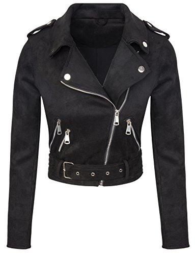 Rok Creek Selection Designer Damen Übergangs Jacke Wildlederoptik Sommer Jacke kurz Jacke D-315 [ V3447 Schwarz L ]