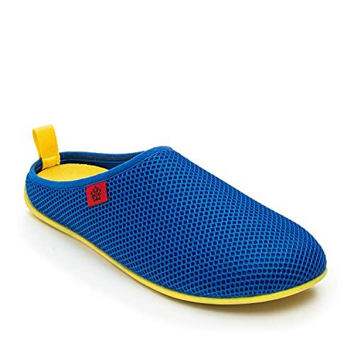 Andrés Machado - Unisex Hausschuhe für Damen/Herren – Sommer – Dynamic – Pantoffeln Slipper - atmungsaktive Netzstruktur – rutschfeste Gummisohle/herausnehmbares Fußbett - Marineblau/Gelb EU 46