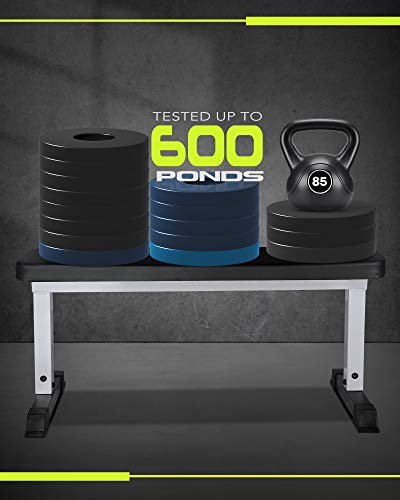 """MARNUR Flat Weight Bench 600 LBS Capacity - 42 x 18.5 x 19"""" Fitness Utility Dumbbell Bench for Weight Training Exercise Home Gym"""