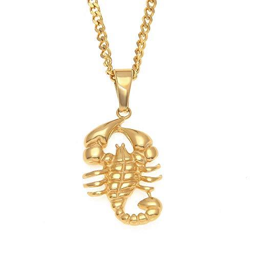 WOOKO - Collar con colgante de acero inoxidable para hombre, chapado en oro,...