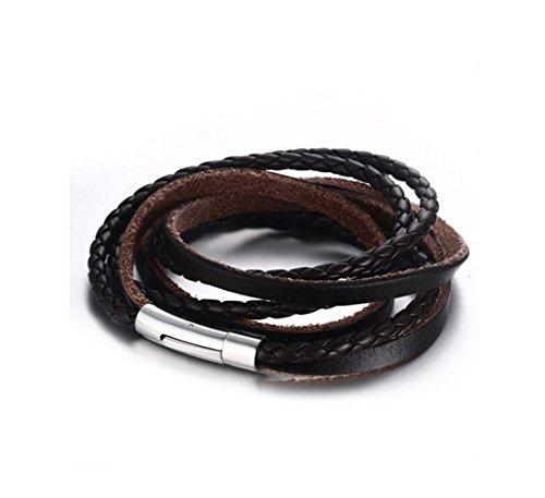 Gudeke 55CM del acero inoxidable de tres vueltas de marrón genuino cuero de la cuerda Pulsera para el brazo, pulido