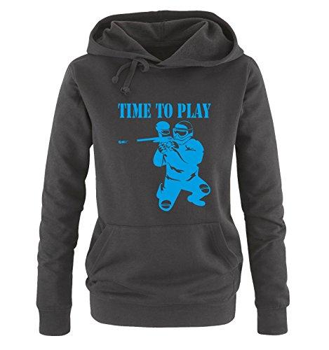 Comedy Shirts - TIME to Play - Paintball - Damen Hoodie Schwarz/Blau Gr. XL