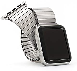 Twist-O-Flex Metal Expansion 42mm / 44mm Stainless Steel Stretch Watchband Replacement for Apple Watch Series 1, 2, 3, and 4 in Brushed, Silver and Black by Speidel