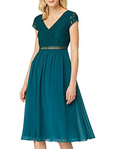 TRUTH & FABLE Damen Midi Chiffon-Kleid mit A-Linie, Grün (Deep Petrol), 42, Label:XL