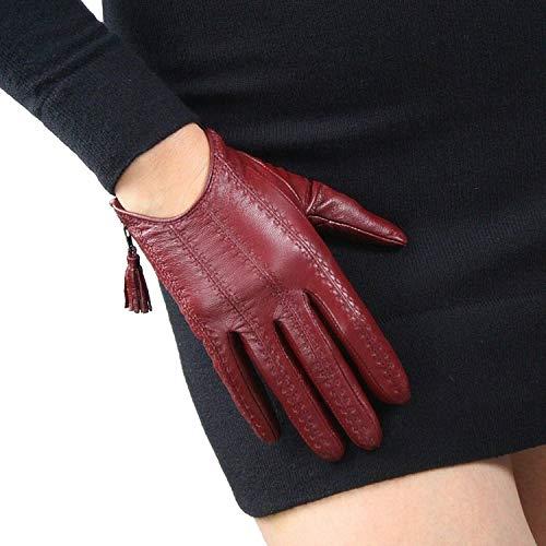 DooWay Women Short Real Leather Gloves Imported Goatskin Leather Touchscreen Warm Driving Tassel Zipper Finger Gloves Dark Red Size M
